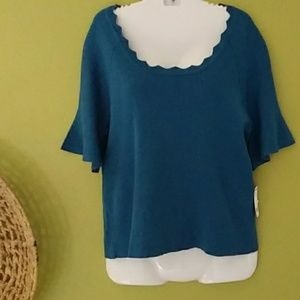NY Collection Scoop Neck Top Size XL